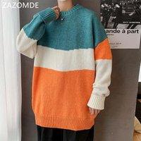 Мужские свитера пуловеры мужчины пэчворк с длинным рукавом панель осень зима корейский стиль модный отдых подростки трикотажные стильные ins bf