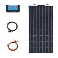مرنة 100W الألواح الشمسية أحادية كيت كاملة التخييم شاحن 12 فولت 24 فولت تحكم photovoltaicor سيارة rv اليخوت المنزل