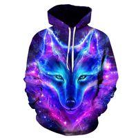 Личность Hoodie Wolf 3D Мужские Мальчики Толстовки Толстовка Бренд Дизайнер Детская Одежда Осень Зима Высокая Качественная Толстовка Y201006