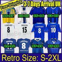 Lampard 2011 2012 Retro Futebol Jerseys Vintage 03 05 06 97 Cole Zola Vialli Camisas Futebol Clássico Azul Casa Camiseta Drogba Maillot