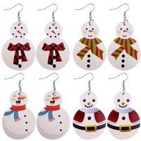 Nouveau Boucles d'oreilles de Noël pour les femmes goutte Dangle PU cuir Boucles d'oreilles Bonhomme de neige Père Noël Elk vacances Bijoux Cadeau 2020