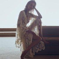 Jastie Mandala Mantra Kimono Sommer Boho Spitze-Strand-Vertuschung-Badebekleidung Long Cardigan Jacke Bell-Hülsen-beiläufige Frauen-Jacken-Hemd 201017