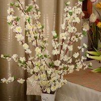 장식 꽃 화환 인공 체리 봄 매 화 복숭아 꽃잎 실크 꽃 나무 웨딩 파티 장식 화이트 레드 옐로