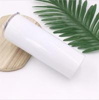 20oz Blanco Sublimación Skinny Tumbler Acero inoxidable Aislado Milk Cup Copa de doble pared Vacuum Tazas portátiles con tapa deslizante y paja