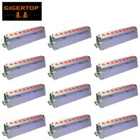 TIPTOP 12XLOT 165W LED Rechargeable Lithium-ion Battery Wireless DMX Indoor RGBWA UV 6IN1 LED Wall Washer Light 9x18W DMX 6 10CH