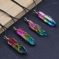 Collares colgantes Collar de moda de mujer Chakra Reiki Curación de piedra Cristal Cuarzo Cuarzo Árbol de vida Péndulo Rainbow DIY Druzy Je