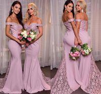 우아한 인어 끄기 숄더 신부 들러리 드레스 레이스 Applique Sweep Train 사용자 정의 만든 하녀 명예 가운 나라 웨딩 파티 착용