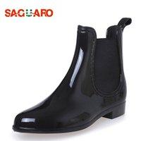 Saguaro 2019 новые резиновые ботинки для женщин ПВХ лодыжки дождь сапоги водонепроницаемые модные желе женщины ботинки эластичная полоса дождливая обувь женщина T200106