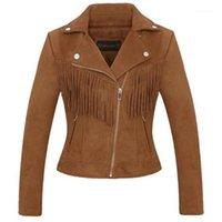 Faídas de cuero femenino 2021--selling chaqueta decorativa con flecos de mujer Ropa de mujer Suede era delgado abrigo de moda corta femenino.