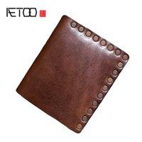 HBP AETOO رجالية اليدوية رئيس طبقة نايتير الجلد المحفظة، خمر شخصية الاتجاه المال كليب، محفظة قصيرة