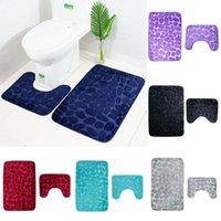 Badematten 2 teile / satz Badezimmer WC-Teppich Matte Rutsch Rutsch Extra Sauggriff mit Gummiunterstützung Trichter Kopfsteinpflaster Anti-Rutsch Teppichboden