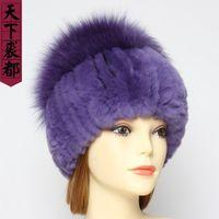 Шапочки / черепные колпачки зима подлинная реальная шерсть REX шерсть женщины теплые природные и грибные формы леди подлинные Hat1