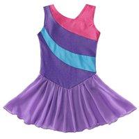 Scena nosić dziewczyny ubierają baletowe kostiumy taniec bez rękawów purpurowy pasek tiulowy spódnica gimnastyczna leotard tutu