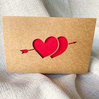 Kraft Papel Love Tarjeta de felicitación Día de San Valentín Tarjeta de felicitación huecos Cumpleaños de acción de gracias Tarjetas de bendición de la boda 6pcs / Set 62 P2