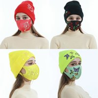 라인 석 뜨개질 모자 컬링 꽃 별 모자 마스크 소프트 레이디 여성 겨울 따뜻한 모자 실내 축제 선물 패션 13LG N2