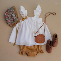 Baby Girl Dress Spring Summer 100% Organic Cotton Linen Cute...