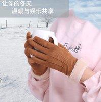 Зима Новые Замши Леди Перчатки Теплые Студенты Прекрасная Корейская версия Сенсорный экран Плюс Плюшевые Утолщение генерации