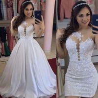 백색 웨딩 드레스 2021 최신 맨 넥 A 라인 신부 드레스 신부 가운 레이스 탑 지퍼 백 탈착식 트레일 오버 킷