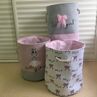 طوي الغسيل سلة للملابس القذرة الوردي الباليه فتاة ألعاب لعب كيس منظم الاطفال المنزل تخزين الغسيل منظمة LJ200821