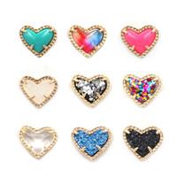 Moda KS Hot Itens Simples Coração Druzy Stone Coração Brincos para Senhoras