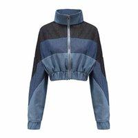 Zip up geerntete Jeansjacke Frauen Langarm Herbst Mäntel Weiblich Umlegekragen Patchwork Crop Jeans Jacken Frau Outwear