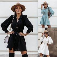 Kadınlar Kış Sonbahar Uzun Kollu Elbise Düğme Gömlek Elbise için Kızlar Bayanlar Katı Renk sokak giyim Damla Nakliye