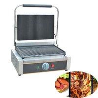 Ekmek Makineleri Jamielin Ticari Elektrikli Sandviç Basın Panini Izgara / Makinesi / Panini Tek Kişilik İletişim Izgara Tosts 110 V 220 V