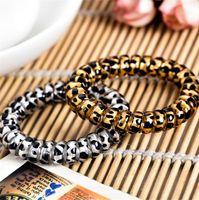Cavo Bianco Brown Leopard Telefono filo della bobina elastica dei capelli delle ragazze delle donne Cravatte Hairbands braccialetto elastico dei capelli Scrunchies accessori LY10162