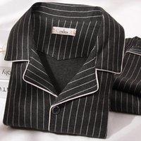 Automne hommes Pyjamas 100% coton 2 pièces Mode Sleepwear Pijama Homme Homme Chaud Lit de la maison Vêtements PJ Noir Pure Coton Pajamas T200813
