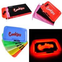 LED Rolling Bandeja Cookies Runtz Backwoods Brilho Bandeja Luz Seco Herb Tabaco Bandejas Rolo Rolo De Cigarro Plástico Transporte rápido