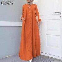Повседневные платья Zanzea Vintage Hijab Мусульманское платье Осенние женщины Maxi с длинным рукавом кнопки Sundress исламская одежда CAFTAN