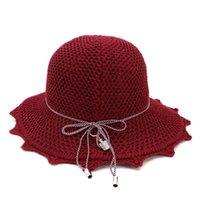 Geniş Ağız Şapkalar Kadın Güneş Şapka Pamuk Iplik Tığ Kova Lady Kızlar için Örgü Ruffer Balıkçılık Kapaklar Kadın Seyahat Fold