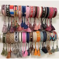 Luxus Stil Seilmaterial Gewebtes Armband mit Nähwörtern und Quaste Hand Strap Marke Schmuck für Frauen Geschenk IYWU3
