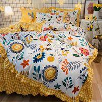 Corea del estilo princesa ropa de cama fija 4pcs impreso floral traje de funda nórdica de cama de algodón de la falda de Suministros cama de diseño en la acción