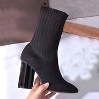 Autunno inverno inverno stivale tacco alto a maglia stivali elastici lettera lettera tacchi spessi scarpe donna sexy scarpe moda calze di moda stivali signora tacchi alti grande taglia 35-42