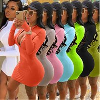 Ladies Solid Color Dress Fashion Trend Sexy Long Sleeve Zipp...