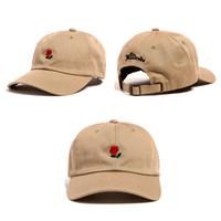 Продажа Женщины Человек Пары Регулируемые сотни Роз Цветок Вышитая бейсболка Cap Повседневная Cool Harajuku Стиль Хипсоп Визуализация Шляпа
