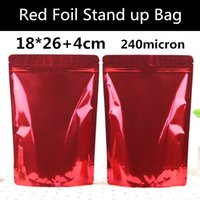 도매 50PCS 18cm * 26cm + 4cm (아래) 240mic 레드 광택 알루미늄 호일 가방 지퍼 잠금 재 밀봉 소매 일어나