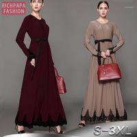 Abbigliamento etnico Vestido Kaftan Abaya Robe Dubai Indonesia Arabo Donne arabo lungo pizzo musulmano hijab Dress Elbise caftano turco abbigliamento islamico1