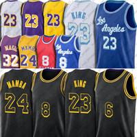 Los Angeles 8 24 Black Mamba كرة السلة جيرسي 23 6 LBJ مختارة واحدة ملك الفانيلة أنتوني جيرسي ديفيس رماد 34 شاق كايل 0 Kuzma Jerseys