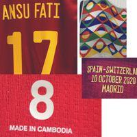 2020 Correspondente Jogador desgastado Edição Ramos Ansu Fati com Details Detalhes Futebol Patch Badge Home Têxtil