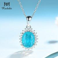 Kuololit Paraiba Tourmaline Gemstone набор для женщин сплошной 925 стерлингового серебра серебро ожерелье для ожерелья невесты Прекрасные украшения LJ201016