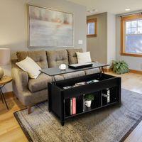 Waco Levante Top Mesa de centro com armazenamento oculto, mobiliário de sala de estar) Prateleira do compartimento, mesas de jantar de mesa de elevador (preto)