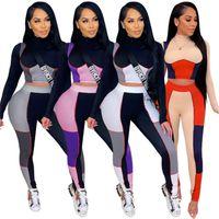Womens Yoga Trainingsanzüge Langarm Hoodie Outfits Shirt Hosen 2 Stück Set Skinny Strumpfhosen Sportanzug Pullover