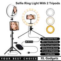 26cm Anel de Beleza Selfie Light com um piso tripé um tripé de desktop titular do telefone bluetooth remoto para transmissão ao vivo / em maquiagem / youtube video