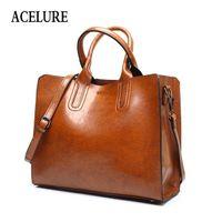 ACELURE Leather Handbags Big Women High Quality Casual Female Bags Trunk Tote Spanish Brand Shoulder Bag Ladies Large Bolsos Q1104