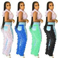 Katmanlı Katmanlı Katmanlar Mesh Dantel Patchwork Bayan Jeans Denim Pantolon Tasarım Diz Delikler Pantolon Moda Butik Parti Bar Giyim F101901