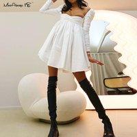 Mnealways18 coton évasé blanc coton robe froncée femme fête croisée sexy mini robe printemps mignonne robe de bal robe femmes robes de poignet j0125