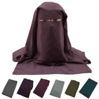 Abbigliamento etnico 3 strati niqab musulmani hijab sciarpa copertura viso velo testa islamica burka lunga saudita ramadan modest wrap preghiera khimar 1