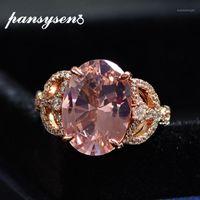 Pansysen romântico 10ct morganite diamante casamento anéis de festa de casamento para mulheres sólidas 925 esterlina prata pedra natural fine jóias ring1